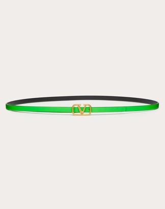 Valentino Vlogo Neon Calfskin Reversible Belt 8 Mm Women Fluorescent Green Calfskin 100%, Bovine Leather 80