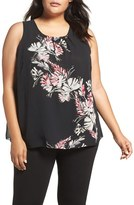 Vince Camuto Plus Size Women's Floral Print Shell