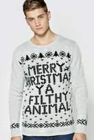 boohoo Merry Christmas Ya Filthy Animal Jumper silver