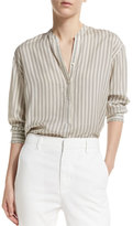 Vince Striped Half-Placket Silk Tunic