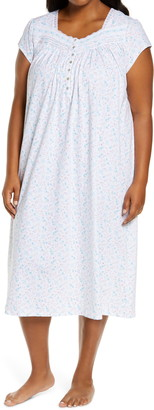 Eileen West Daisy Print Lace Trim Nightgown