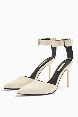 Topshop Womens Glide White Ankle Strap Shoes - White