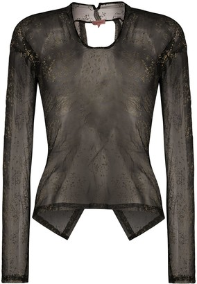 Romeo Gigli Pre Owned 1990s Metallic Stamps Sheer Blouse
