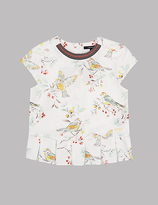 Autograph Pure Cotton Bird Print Top (3-14 Years)
