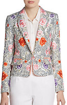Alice + Olivia Vanda Embroidered Silk Blazer