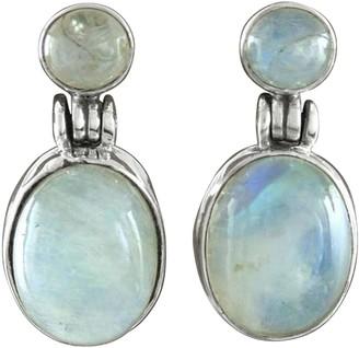 Novica Artisan Crafted Sterling Moonstone Dangle Earrings