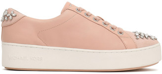 MICHAEL Michael Kors Poppy Crystal-embellished Suede-trimmed Leather Sneakers