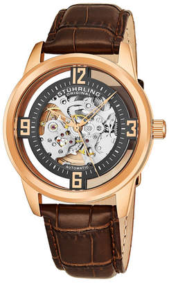 Stuhrling Original Men Dress Skeletonized Automatic Watch, Rose Tone Case on Brown Alligator Embossed Genuine Leather Strap, Grey Skeletonized Dial With Rose Tone Accents