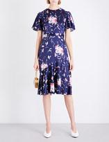 Prabal Gurung Flounced-hem floral silk dress