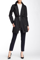Soia & Kyo Rochelle Asymmetrical Zip Leather Trim Trench Coat