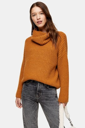 Topshop Womens Brown Knitted Chunky Roll Neck Jumper - Tobacco