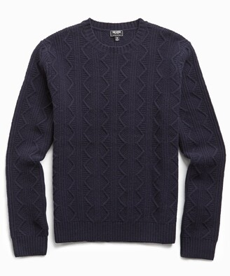 Todd Snyder Merino Cable Crew in Navy