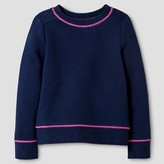 Cat & Jack Toddler Girls' Solid Long Sleeve Sweatshirt Navy