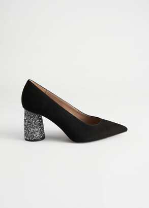 And other stories Embellished Heel Pointed Suede Pumps
