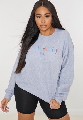 Missguided Plus Size Gray New York Graphic Sweatshirt