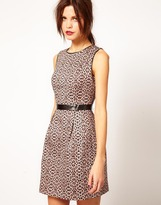 Warehouse Animal Print Fit & Flare Dress With Leather Look Trim