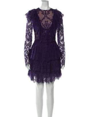 Elie Saab Lace Pattern Mini Dress Purple
