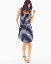 Soma Intimates Soft Jersey Drawstring Sleeveless Tank Dress Aerial Stripe Navy