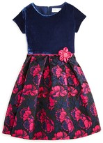 Us Angels Girls' Velour & Floral Brocade Dress - Sizes 2-6X