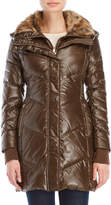 French Connection Faux Fur Trim Quilted Coat