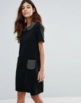 Traffic People Shift Dress With Contrast Collar & Pocket Detail