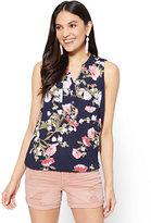 New York & Co. Soho Soft Shirt - Sleeveless Popover - Navy - Peony Print