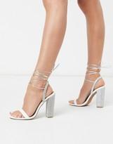 Asos Design DESIGN Narrator strappy sandals with embellished heel in white