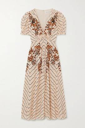 Saloni Lea Button-embellished Printed Silk Crepe De Chine Midi Dress - Cream