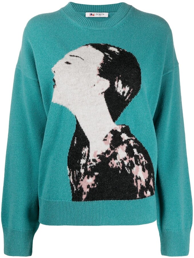 Ports 1961 Face-Jacquard Sweater