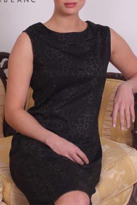 Papillon Blanc Leopard Print Ponte Sheath Dress