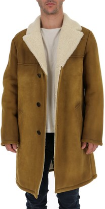Prada Shearling Trimmed Single Breasted Coat