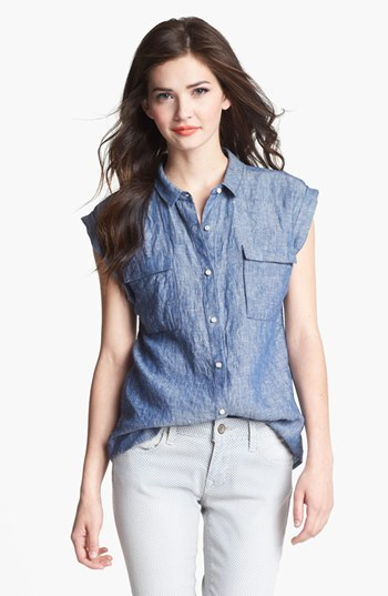 Caslon Button Front Top Washed Dark Chambray Medium