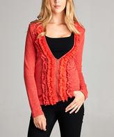 Red V-Neck Zip-Front Cardigan
