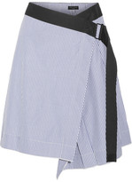 Rag & Bone Lenna Striped Cotton And Silk-blend Wrap Skirt - Light blue