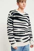 Stussy Black And White Zebra Stripe Sweater