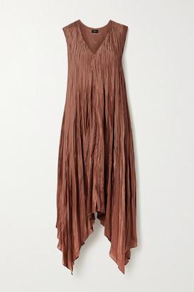 Joseph Asymmetric Crinkled Silk-satin Midi Dress - Brick