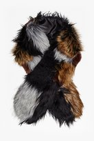French Connection Faux Fur Patchwork Maxina Stole
