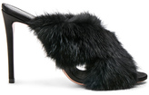 Aquazzura Mink Fur Purr 105 Mules in Black.