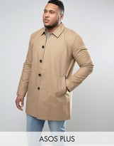 Asos PLUS Single Breasted Trench Coat With Shower Resistance in Stone
