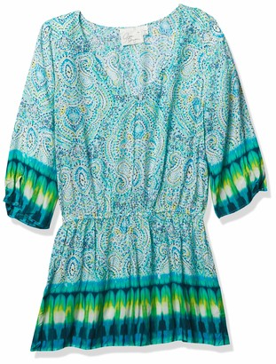 Green Dragon Women's Paisley Tie Dye V-Neck Tunic with Straight Sleeve Dress