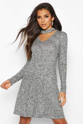 boohoo Rib Choker Long Sleeve Swing Dress