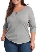 Dickies Plus Womens Henley Neck Long Sleeve Henley Shirt
