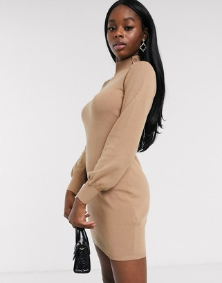 Lipsy button knit mini bodycon dress in camel