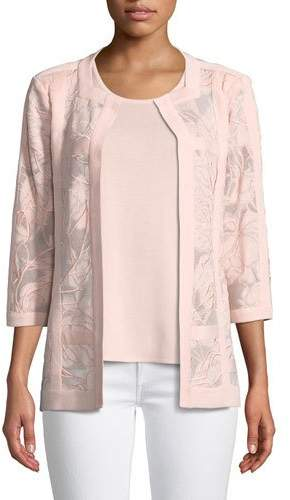 Misook Tonal Floral Embroidered Jacket, Plus Size