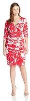 Calvin Klein Women's Plus-Size V-Neck Long-Sleeve Printed Wrap Dress