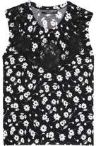 Dolce & Gabbana Lace-Paneled Floral-Print Cashmere And Silk-Blend Top