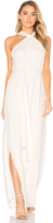 Halston Sleeveless Knot Drape Neck Gown