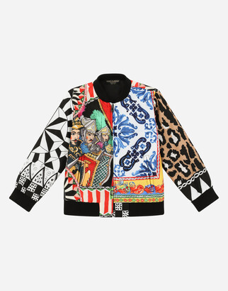 Dolce & Gabbana Nylon Bomber Jacket With Carretto Patchwork Print