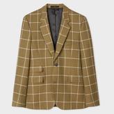 Men's Slim-Fit Khaki Windowpane Check Wool Blazer
