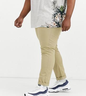Burton Menswear Big & Tall slim chinos in stone